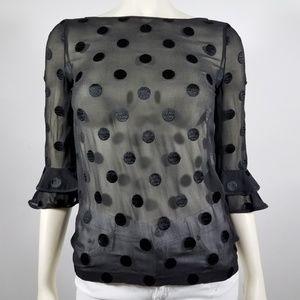 KATE SPADE Black Sheer Polka Dot Blouse - size 0